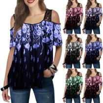 Women's Lace Printed Short-sleeved Loose T-shirt