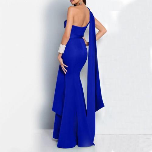Commuting Pure Colour Sloping Shoulder Slit Evening Dress