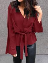 Stylish V Neck Long Sleeve Shirt