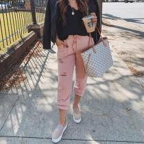 Casual Pure Color   Belted Ripped Sport Pants