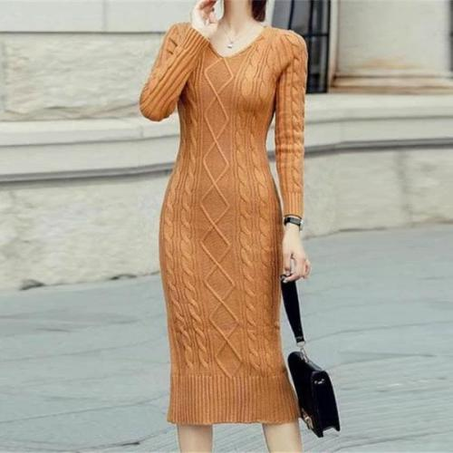 Fashion V Neck Show Thin Pure Color Knit Sweater Maxi Dress