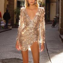 Sexy Deep V-Neck Long Sleeve Dress