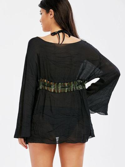 Flared Sleeves Hollow Waist Cover-Ups Swimwear