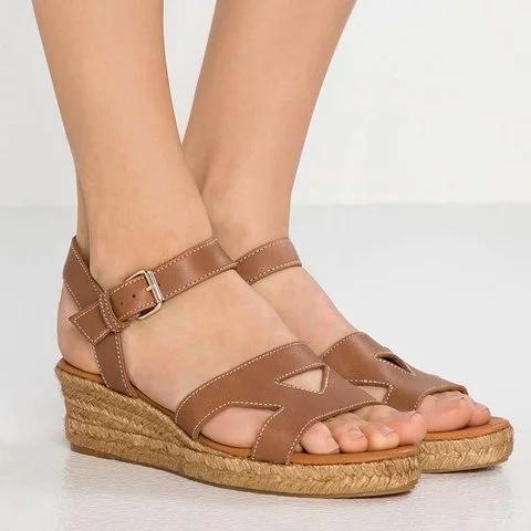 Plus Size Espadrille Peep Toe Wedge Buckle Sandals