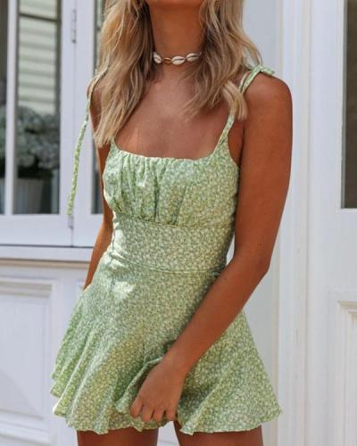 Sling Lace Print Fashion Jumpsuit