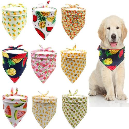 Cat Dog Bandana Bibs Colorful Fruit Printed Scarf Collar Adjustable Pet Neckerchief Saliva Towel for Small Medium Large Dogs