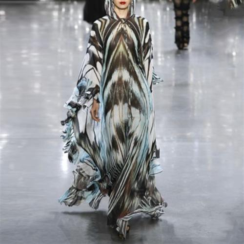Fashion Printed Loose Hooded Maxi Dresses