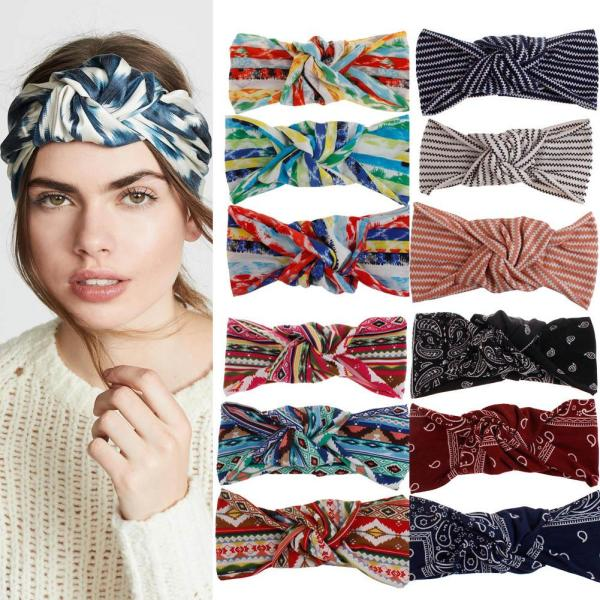 Bohemia Style Printed Wide Headband Twisted Knotted Women Elastic Hair Bands Turban Girls Colored Hair Accessories Headwear