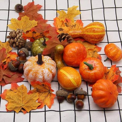 Fall Harvest Decor Props Artificial Mini Pumpkin Gourd Acorn Berries Maple Leaf Artificial Pumpkin Diy Craft Simulation Hallowee