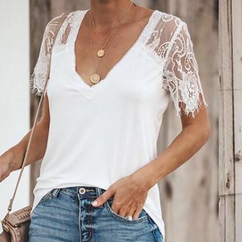 Female Sexy Pure Color V Collar Lace Splice Shirt