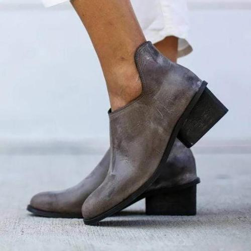 Casual Women Mid Heel Round Toe Ankle Boots