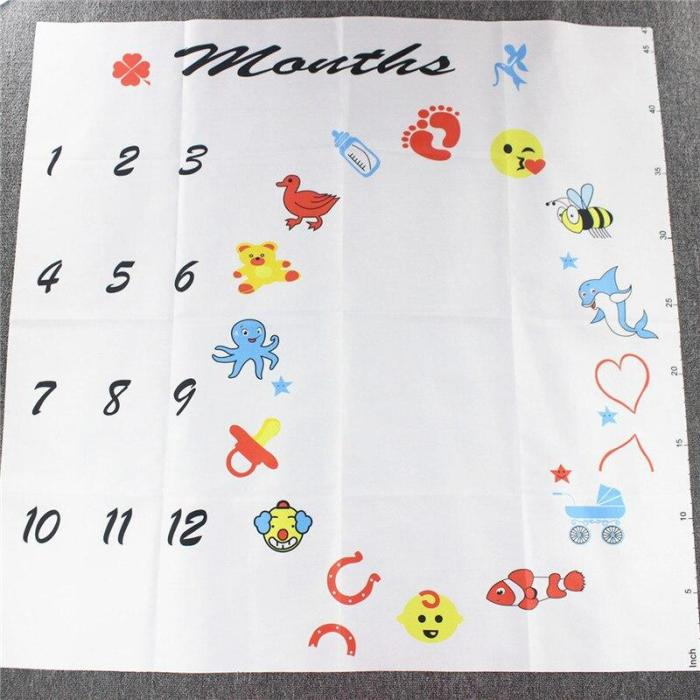 Baby Monthly Growth Milestone Blanket Photography Requirements Background Towel Memory Carpet