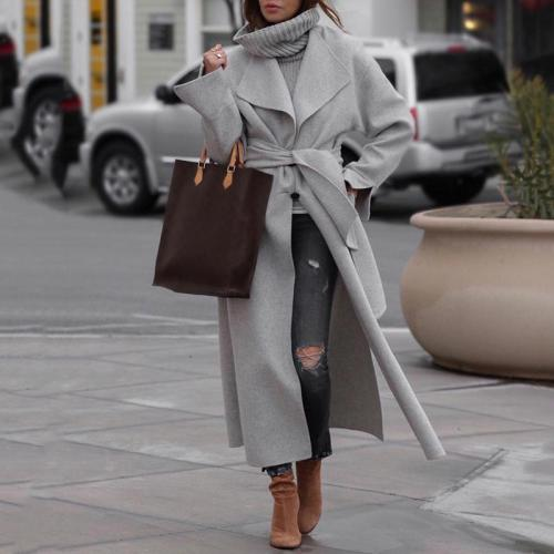 Women's Fashion Belted Long Sleeve Turndown Collar Coat