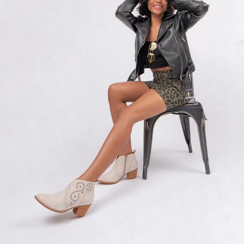Women's Fashion Solid Color Rivets Decorative Ankle Boots