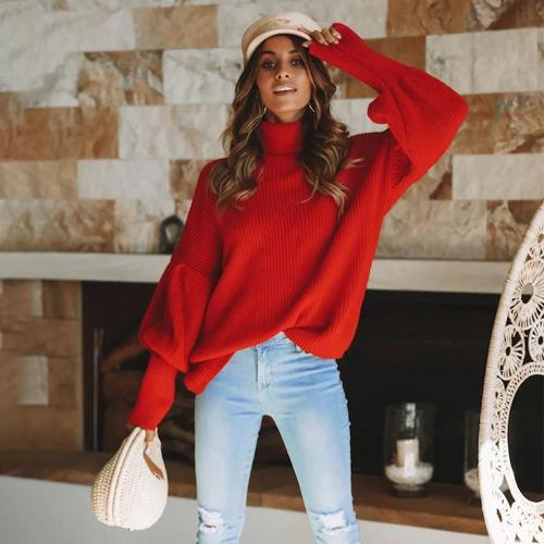 Women's High-neck Pure Color Long Lantern Over-sleeve Sweater