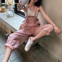 Casual Belted High-Waist Patch Pocket Pure Colour Sleeveless Jumpsuit