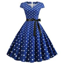 Women Retro Vintage Dot Dress Blue 50s 60s Rockabilly Swing Robe Pin Up Summer Party Dresses Elegant Tunic 2020 Vestidos Casual