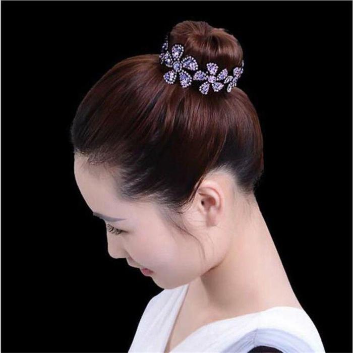 1PC Rhinestone Flower Hairpins Women Hair Clips Openwork Elegant Flowers Elegant Crystal Twist Round Barrette Hair Accessories