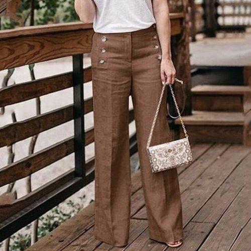 Llong  Double Breasted  Plain  Basic Pants
