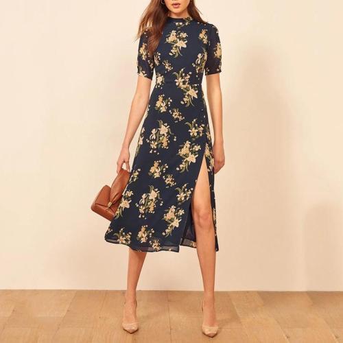 Sexy vintage print back strap dress