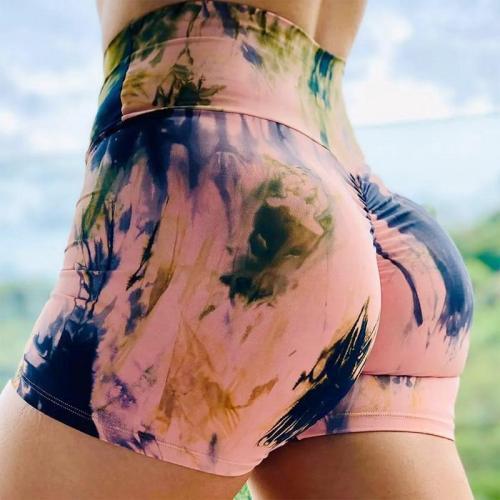 Tie Dye Running Short Yoga Shorts Workout Ladies High Waist Tight Gym High Waist Shorts For Women Fitness Hip Lifting Activewear