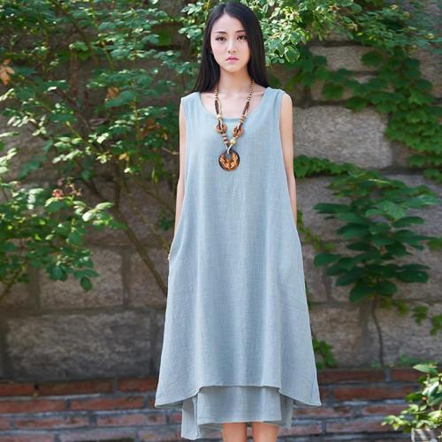 Casual Sleeveless Linen Dress