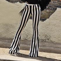 Black And White Stripes, Micro Lama Autumn High Waist Trousers.