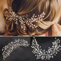Flashing Ornaments Rhinestone Pearl Bridal Hair Clip Accessories Jewelry Wedding Elegant Crystal Bride Hair Comb Headwear