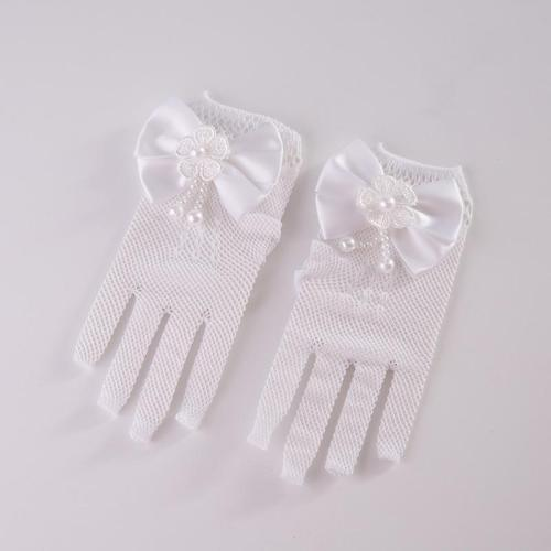Beauty Pearl Wedding Gloves for Girls Mesh Evening Children's Holiday Accessories with Halloween Day Birthday Bow Performance Gl