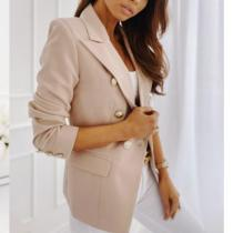 Summer Autumn Fashion Blazer Jacket Women Casual Long Sleeve Work Office Suit Solid Slim Double Breasted Business Blazers Coat