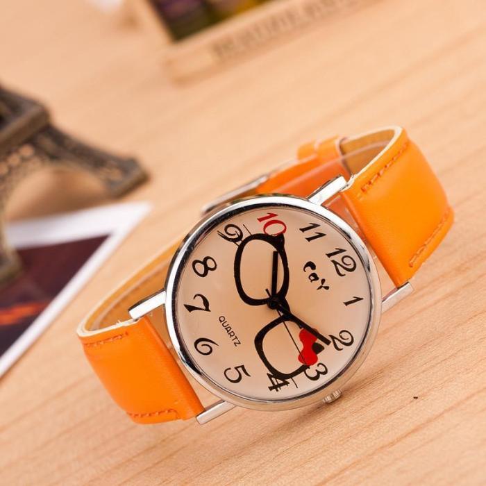 Glasses Bowknot Print Watch