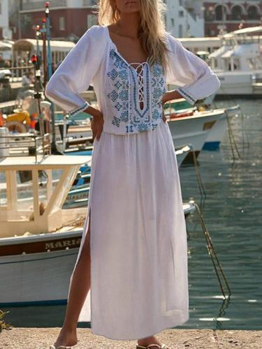 Printed Raised Band Cover-up Maxi Dress