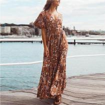 Bohemian V Neck Printed Colour Short Sleeve Maxi Dresses
