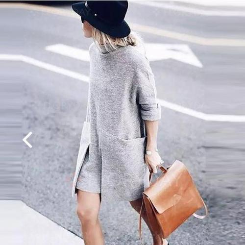 Turtleneck Big Pockets Loose Oversized Gray Sweater Dress