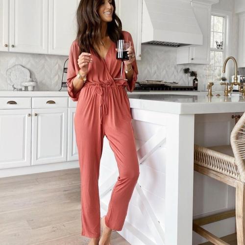 EBUYTIDE Temperament Red V-Neck Long Sleeve Fitted Home Jumpsuit