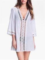 Deep V-neck Hook Flower Cut out Lace Beach Cover-up