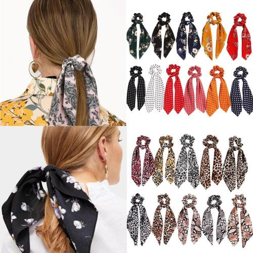 2020 New Leopard Snake Floral Dot Streamers Scrunchies Women Hair Scarf Elastic Bow Hair Rope Ribbon Band Girls Hair Accessories