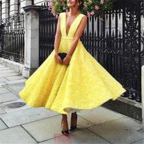 Lace Deep V Neck Backless A-Line Maxi Dress