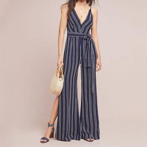 Fashion V Neck Striped Sleeveless Jumpsuits