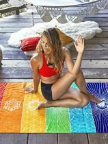 Unique Rectangle Rainbow Summer Beach Mat Yoga Mat