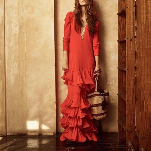 Women's Solid Color V-Neck Long-Sleeved Multi-Layer Skirt Dress
