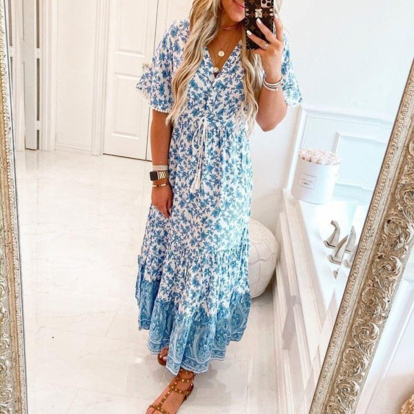 Elegant Print V-Neck Short Sleeve Maxi Dress