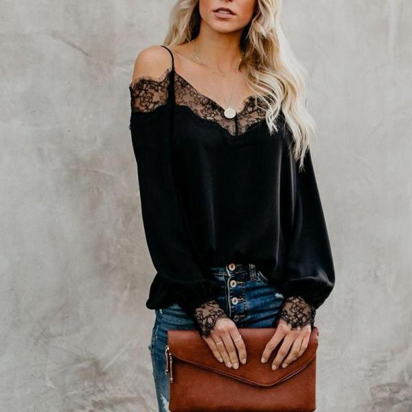 Fashionable Long-sleeved Lace Blouses