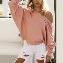 Casual Boat Neck Sloping Shoulder Lace-Up Knitwear