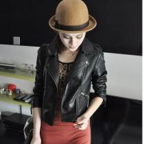 Women Black Zipper Moto Crop Slim Jacket