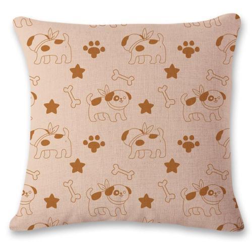 Linen Animal Reactive Printing Pillowcase