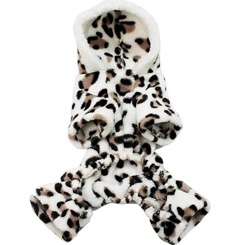 Leopard Warm Winter Pet Dog Puppy Clothes Hoodies Dog Coat Sweater Jumpsuit Pajamas Outwear Pet Products