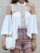 Casual Sexy  Off The Shoulder Lace Splicing Chiffon  Shirt