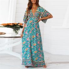 Casual V Collar Bohemia Style Maxi Dress