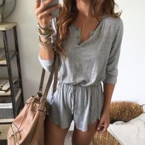 EBUYTIDE Grey Round Neck Long Sleeve Fitted Jumpsuit